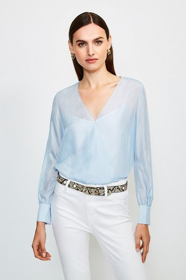 Pale blue Silk Habotai Wrap Blouse
