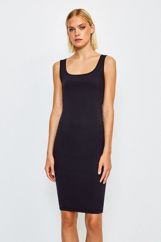 Black Smooth Essential Scoop Neck Slip Midi Dress