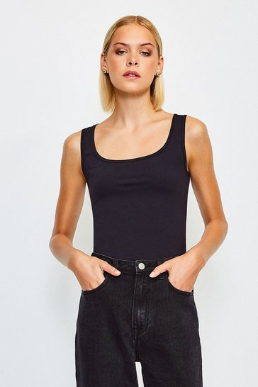 Black Smoothing Essentials Scoop Neck Vest