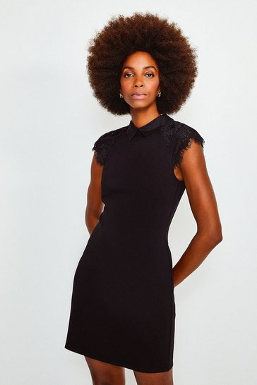 Black Collared Lace Panel Jersey Dress