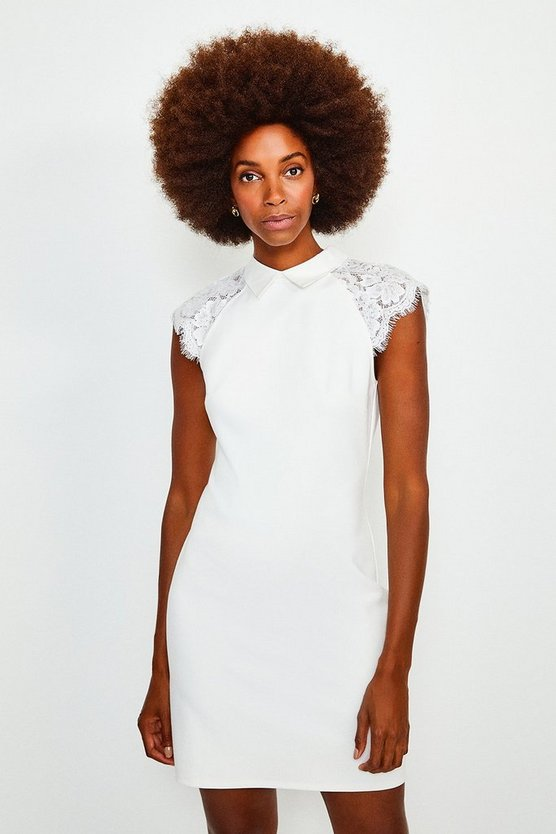 Ivory Collared Lace Panel Jersey Dress