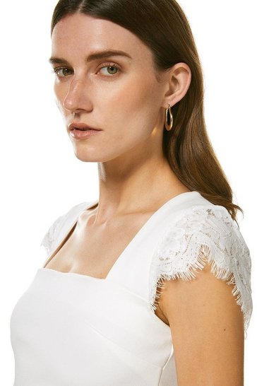 Ivory Lace Shoulder Square Neck Ponte Top