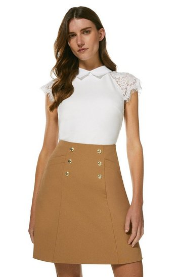 Ivory Collared Lace Panel Jersey Top