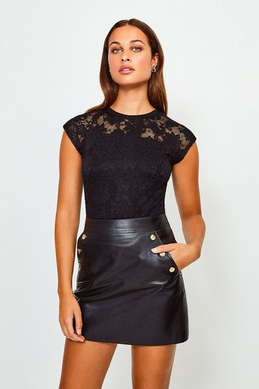 Black Lace Jersey Top
