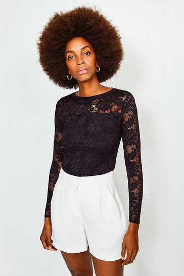 Black Lace Long Sleeve Jersey Top
