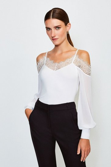 Ivory Cold Shoulder Chiffon Sleeve Jersey Top