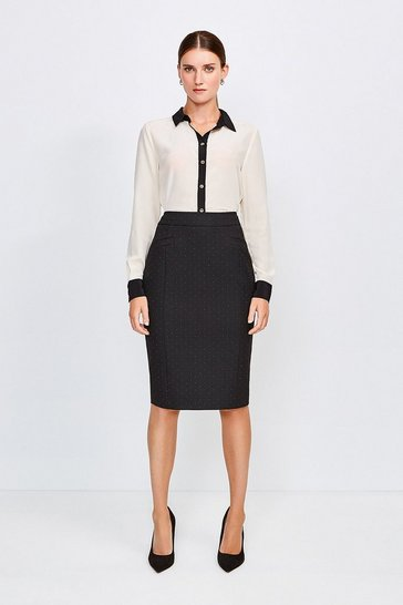 Black Pinspot High Waist Pencil Skirt