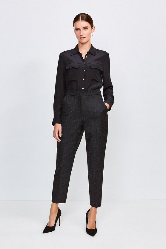 Black Pinspot High Waist Trousers