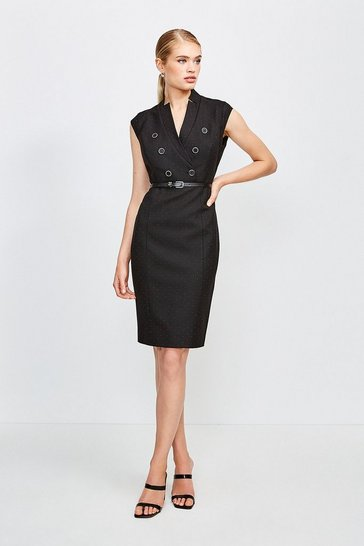 Black Pinspot Notch Neck Dress