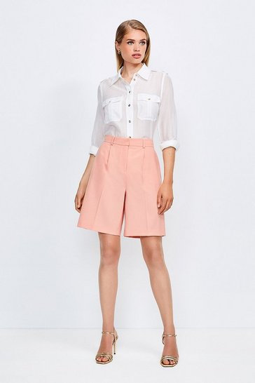 Apricot Polished Stretch Wool Blend Shorts