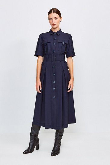 Navy Polished Stretch Wool Blend Utility Dress