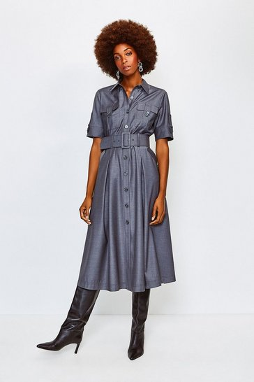 Pale grey Polished Stretch Wool Blend Utility Dress