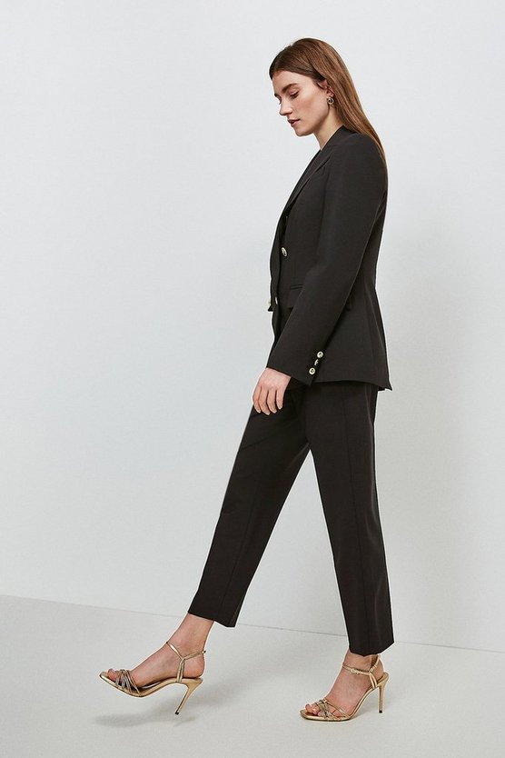 Black Polished Stretch Wool Blend Tapered Trouser