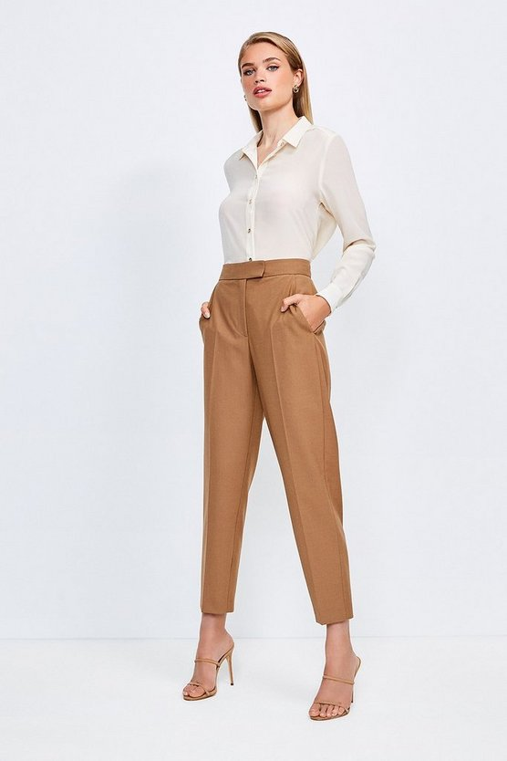 Camel Polished Stretch Wool Blend Tapered Trouser