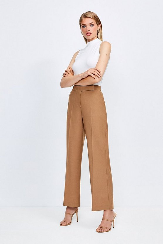 Camel Polished Stretch Wool Blend Wide Leg Trouser