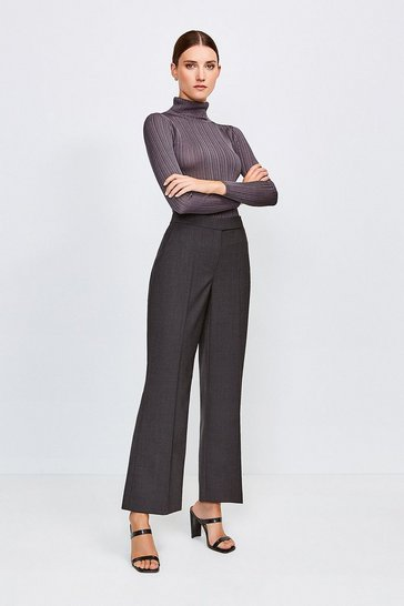 Charcoal Polished Stretch Wool Blend Wide Leg Trouser