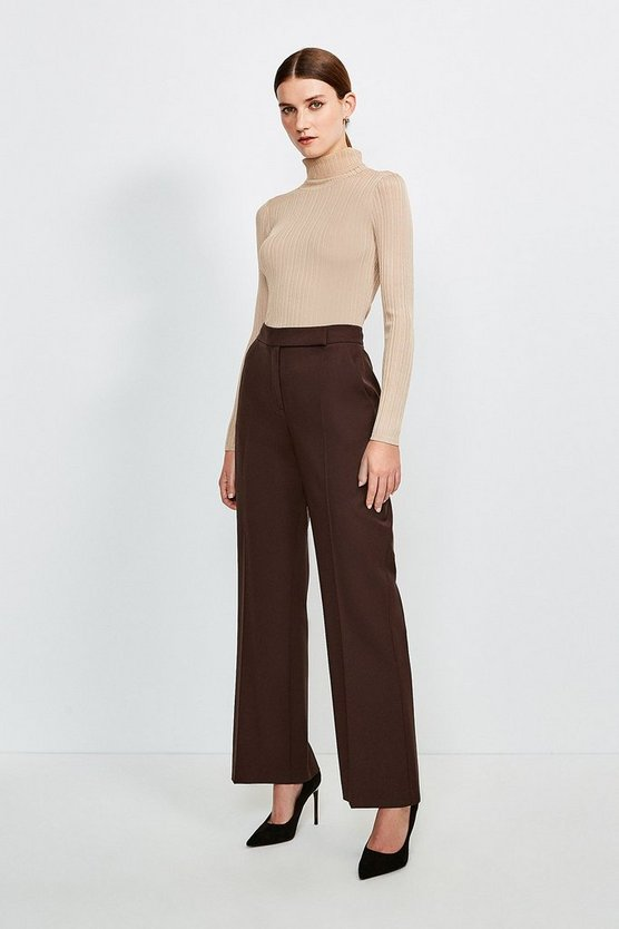 Chocolate Polished Stretch Wool Blend Wide Leg Trouser