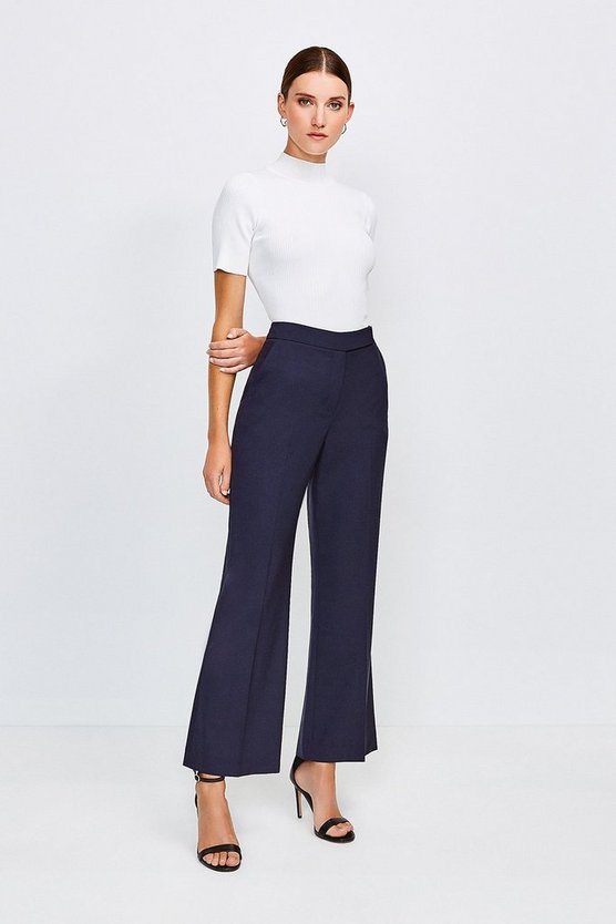 Navy Polished Stretch Wool Blend Wide Leg Trouser