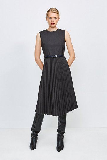 Charcoal Polished Stretch Wool Blend Pleated Dress