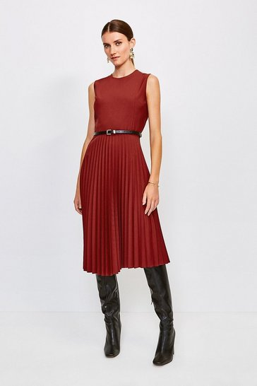 Red Polished Stretch Wool Blend Pleated Dress