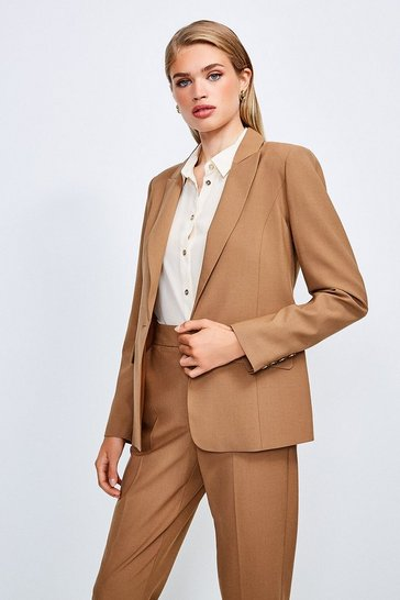 Camel Polished Stretch Wool Blend Jacket
