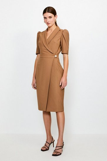 Camel Polished Stretch Wool Blend Tailored Wrap Dress