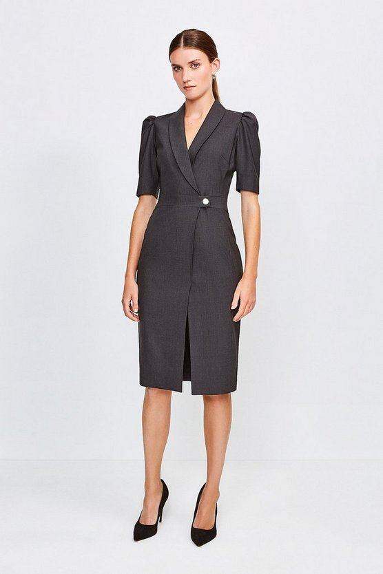 Charcoal Polished Stretch Wool Blend Tailored Wrap Dress