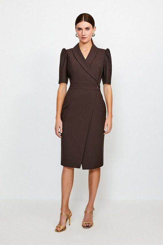 Chocolate Polished Stretch Wool Blend Tailored Wrap Dress