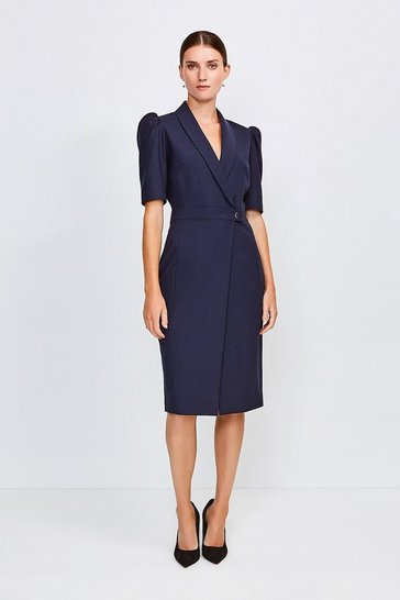 Navy Polished Stretch Wool Blend Tailored Wrap Dress