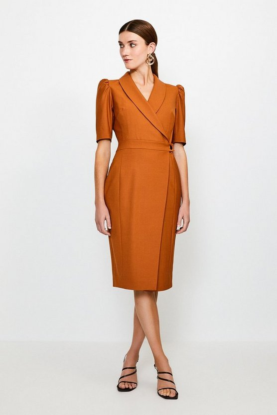 Tan Polished Stretch Wool Blend Tailored Wrap Dress
