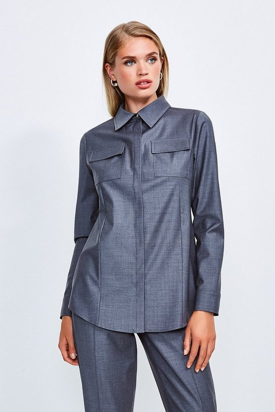 Pale grey Polished Stretch Wool Blend Long Sleeve Shirt