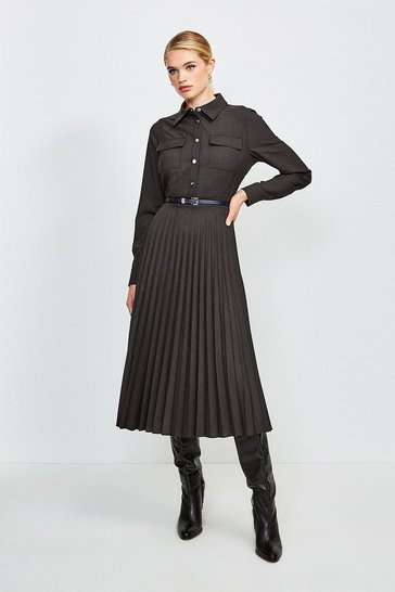 Charcoal Polished Stretch Wool Blend Shirt Dress