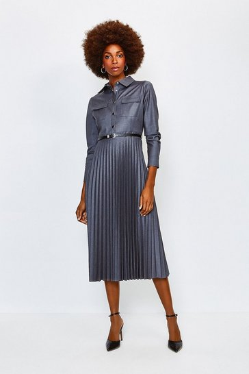 Pale grey Polished Stretch Wool Blend Shirt Dress