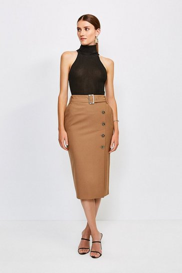 Camel Polished Stretch Wool Blend Pencil Skirt