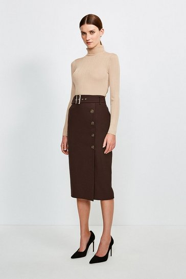 Chocolate Polished Stretch Wool Blend Pencil Skirt