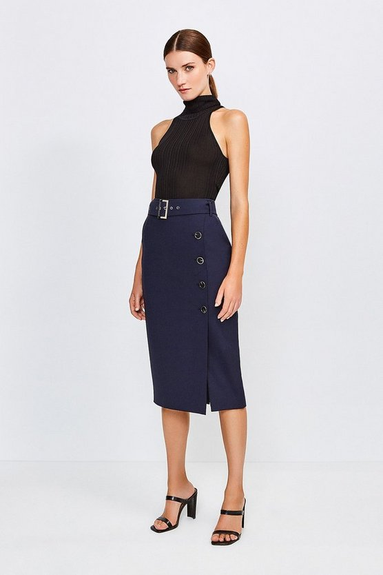 Navy Polished Stretch Wool Blend Pencil Skirt
