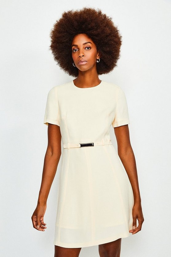 Ivory Topstitch Short Sleeve Dress