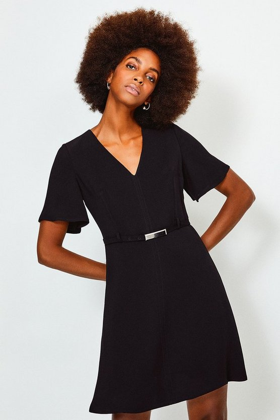 Brick V Neck Flute Sleeve A Line Dress