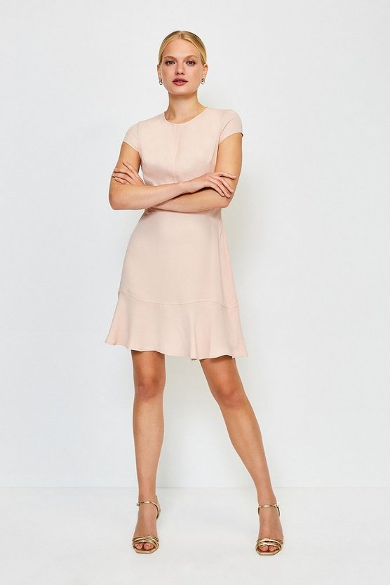 Rose Topstitch Flippy Hem Dress
