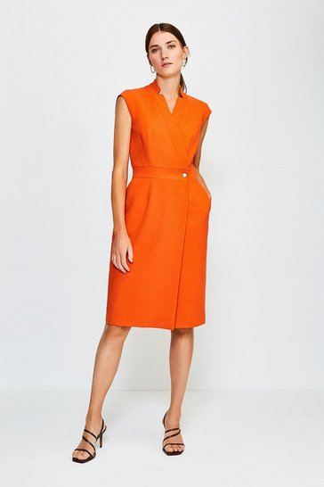 Orange Collar Wrap Sleeveless Midi Dress