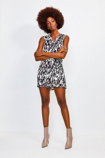Animal Print Wrap Front Playsuit