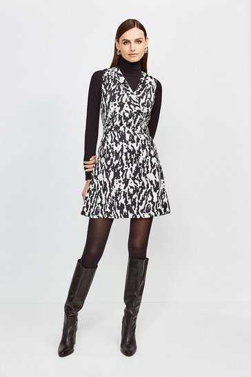 Animal Print Sleeveless Wrap Dress