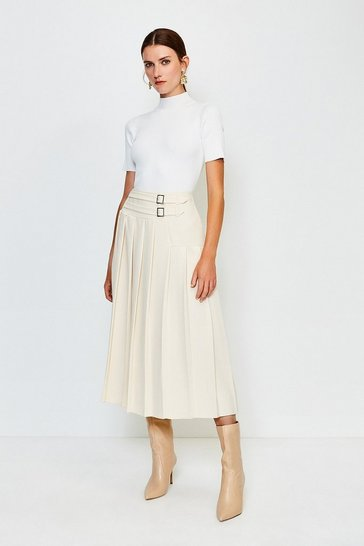 Cream Wrap Pleat Skirt