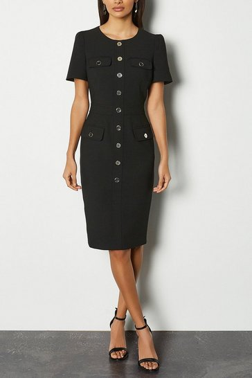 Black Tailored Short Sleeve Utility Pencil Dress