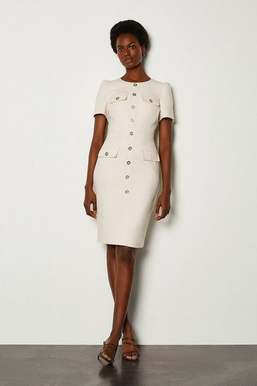 Cream Tailored Short Sleeve Utility Pencil Dress