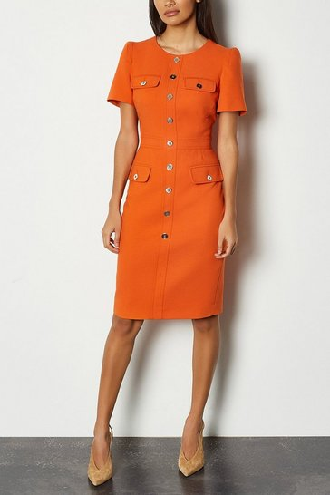 Orange Tailored Short Sleeve Utility Pencil Dress