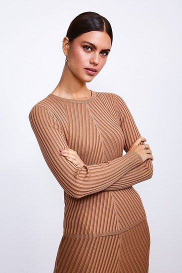 Camel Plated Rib Knit Jumper