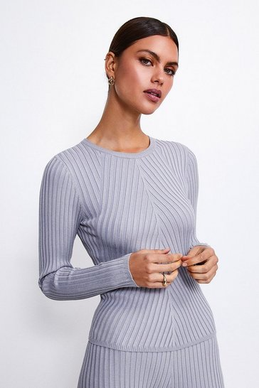 Grey Plated Rib Knit Jumper