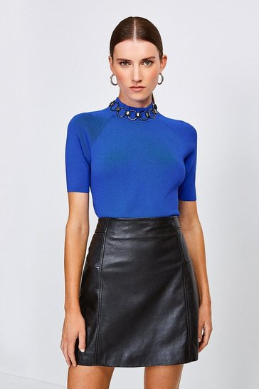 Cobalt Chain Neck Funnel Knitted Top