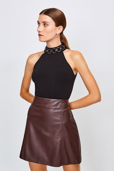 Black Chain Neck Racer Knitted Top
